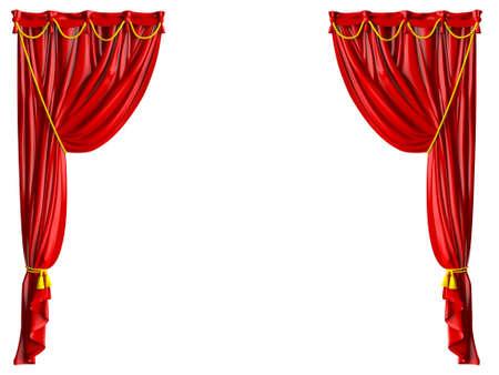 Rode glimmende theater gordijnen en gele touwen, geïsoleerd op een witte achtergrond. Stockfoto
