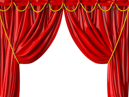 Red realistic theater curtain, isolated on white background. photo