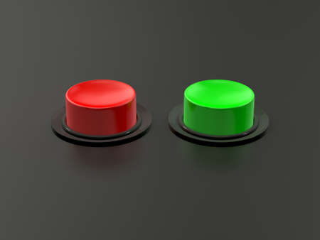 Blank red and green buttons on dark background with reflection. photo
