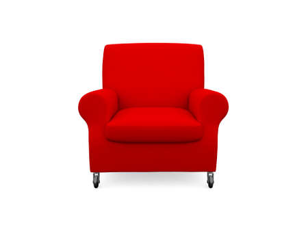 Red armchair, isolated on white background. Stock Photo - 22594480