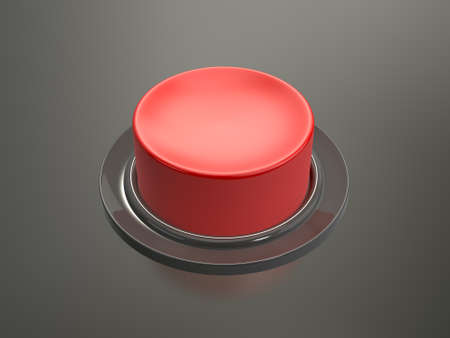 Blank shiny red button on glossy dark background. photo