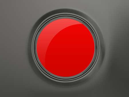 Blank red circular shiny button on dark background. photo