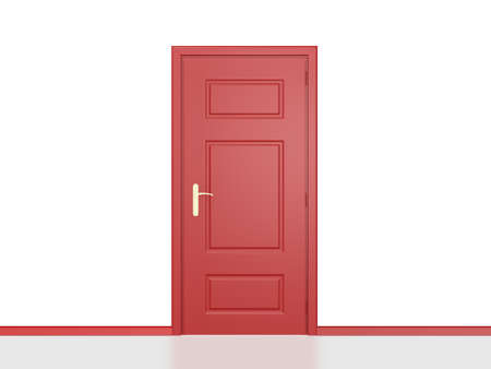 Red shiny closed door in white wall with reflection. Stock Photo