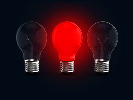 distinction: Red glowing light bulb lamp among two transparent light bulbs on dark background.