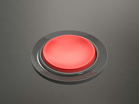 Red shiny pressed button on dark background. photo