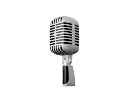 Single retro microphone, isolated on white background. photo