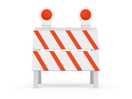 Road barrier or construction sign with lights, front view, isolated on white background. photo