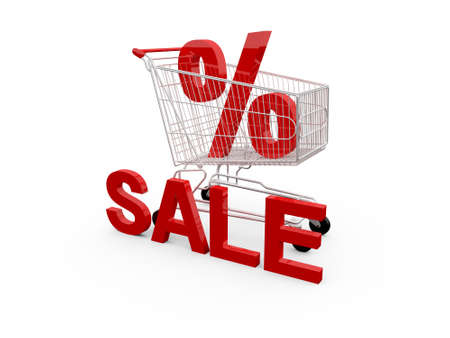 ramping: Red percentage symbol, sale text and shopping cart, isolated on white background. Stock Photo