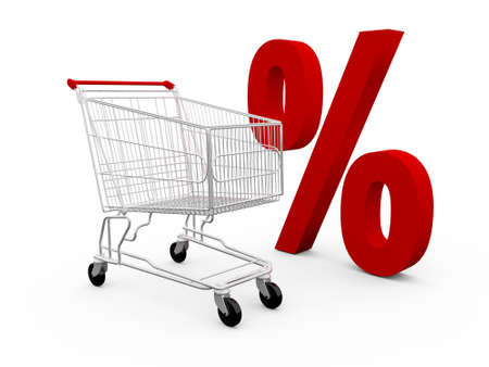 ramping: Red percentage symbol and shopping cart, isolated on white background.