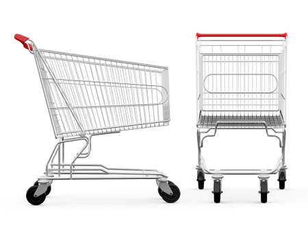 Lege winkelwagentjes, zijaanzicht en vooraanzicht, geïsoleerd op een witte achtergrond.