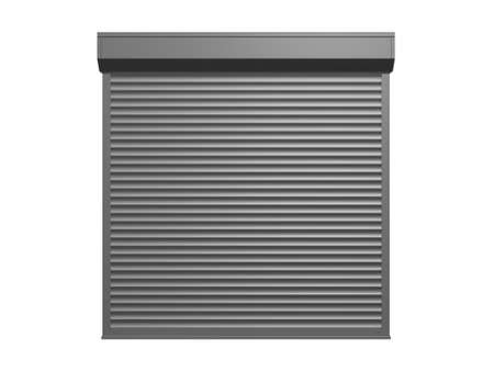 Steel shutter door, garage, isolated on white background. photo