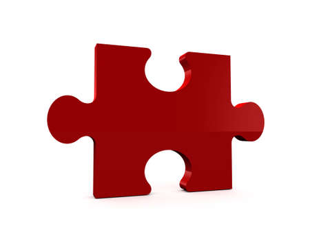 Single red shiny puzzle piece, isolated on white background. photo