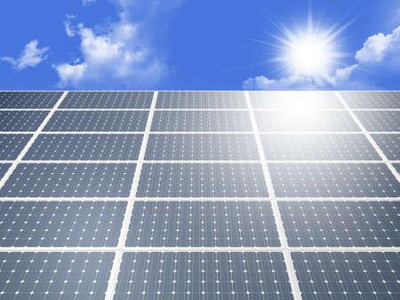 Blue solar panel system produces alternative green energy from the sun against cloudy blue sky. photo