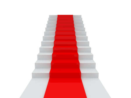 Stairs with red carpet, isolated on white background. photo