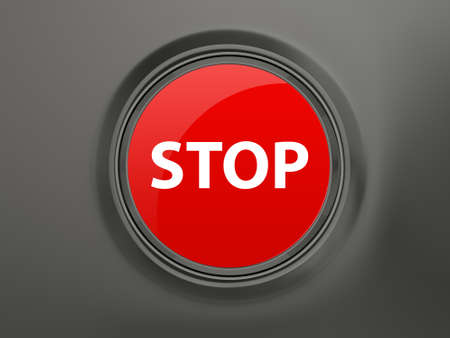 Red shiny stop button on dark background. photo