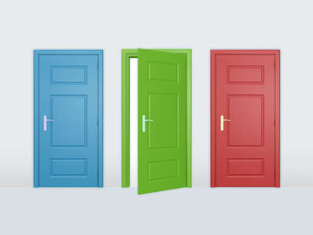 Een open deur en twee gesloten deuren.