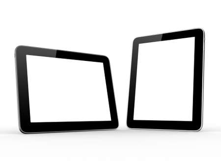multi touch: Realistic and modern tablet computer device with blank touch screen with black frame, isolated on white background.