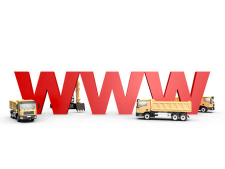 Concept of website under construction with red www letters and yellow trucks, isolated on white background. photo