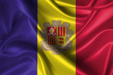 Realistic wavy flag of Andorra. photo