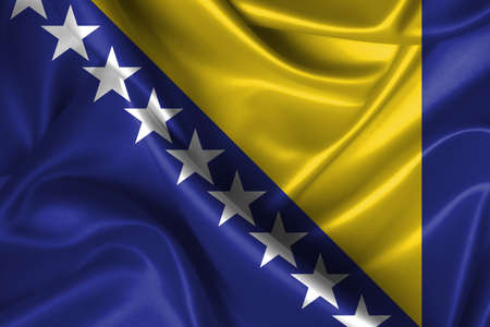 bosna: Realistic wavy flag of Bosna and Herzegovina.