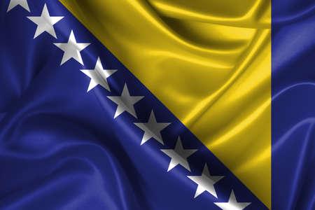 bosna: Realistica bandiera ondulata della Bosnia ed Erzegovina.