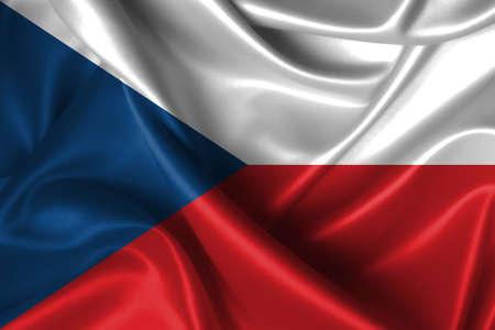 Realistic wavy flag of Czech Republic.