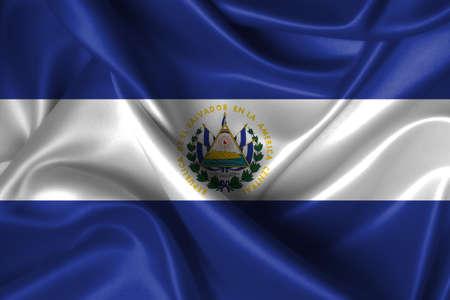 Realistic wavy flag of El Salvador. photo