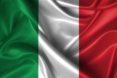 Realistic wavy flag of Italy.