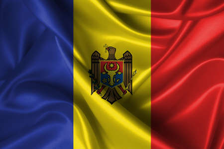 Realistic wavy flag of Moldova. photo
