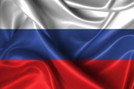 Realistische golvende vlag van Rusland. Stockfoto