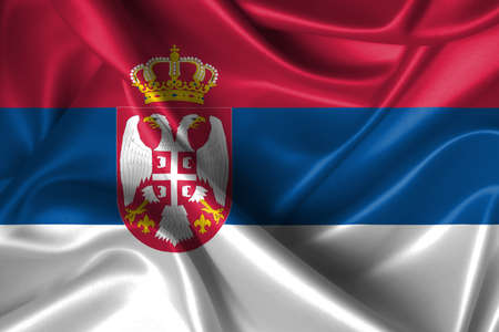 Realistic wavy flag of Serbia. photo