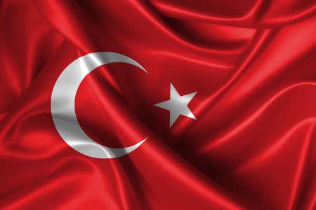 Realistic wavy flag of Turkey. Stock Photo