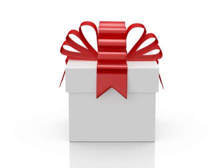 Enkele witte geschenkdoos met rood lint, vooraanzicht, geïsoleerd op een witte achtergrond. Stockfoto
