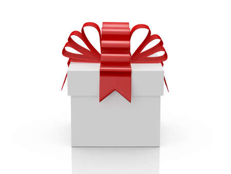 gift packs: Single white gift box with red ribbon, front view, isolated on white background. Stock Photo