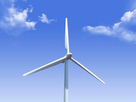 generates: Single wind turbine generates alternative green energy on cloudy blue sky.