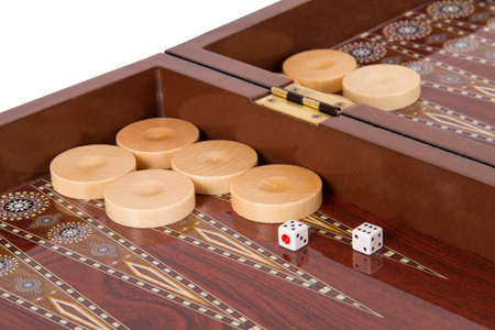 battle plan: Backgammon table, chips and dices with five and six. Stock Photo