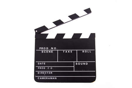 Front view of blank black film clapper board, isolated on white background.