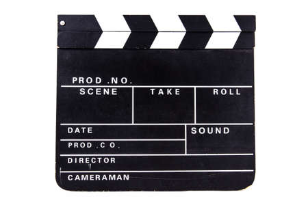 Blank black film clapper board, front view, isolated on white background. Stock Photo - 22600459