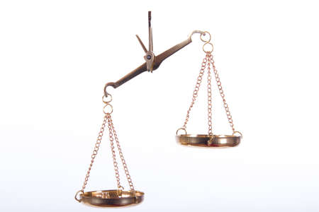unbalanced: Unbalanced golden scales of justice, isolated on white background.