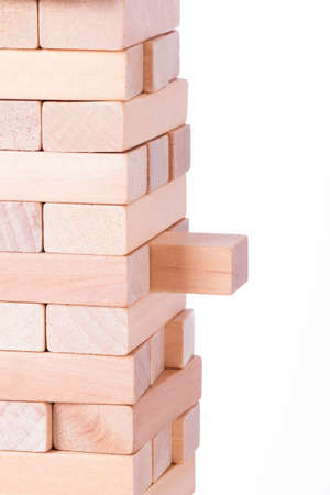 Risk concept, blocks of wood, isolated on white background. photo