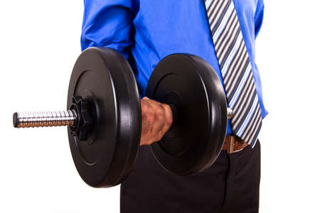 Businessman with dumbbell, isolated on white background. photo