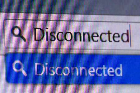 disconnected: Close up macro of conputer screen internet browser address bar with disconnected text.
