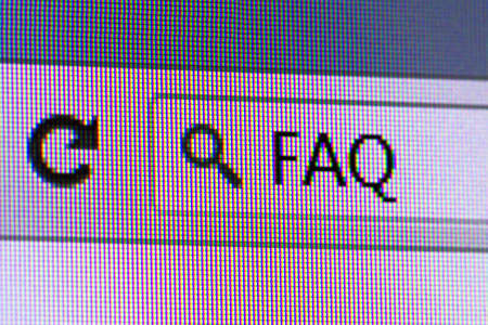 address bar: Close up macro of internet browser with FAQ text on address bar. Stock Photo