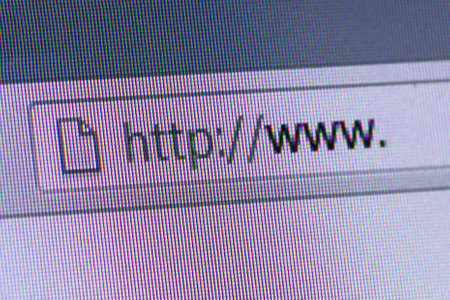 Close up of computer screen internet browser address bar with blank web url. photo
