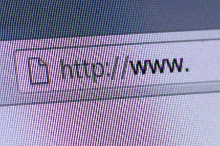 address bar: Close up of computer screen internet browser address bar with blank web url.