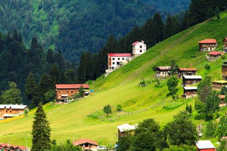 Ayder 고원, Rize, 터키의 산악 주택. 스톡 콘텐츠