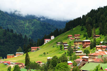 plateau: Mountain houses in Ayder Plateau, Rize, Turkey.