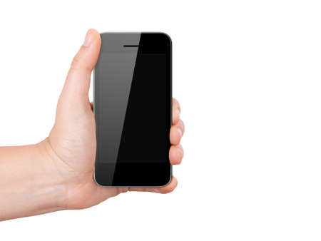 multi touch: Realistic digital mobile phone device with blank touch screen holding by hand, isolated on white background.