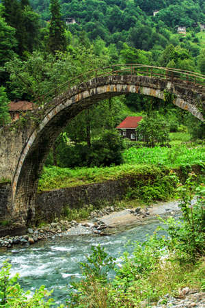 Mountain stream and bridge in forest. photo