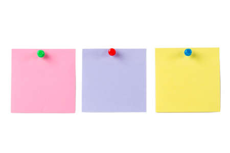 Blank, empty multi colored sticky post it pinned on white isolated background.